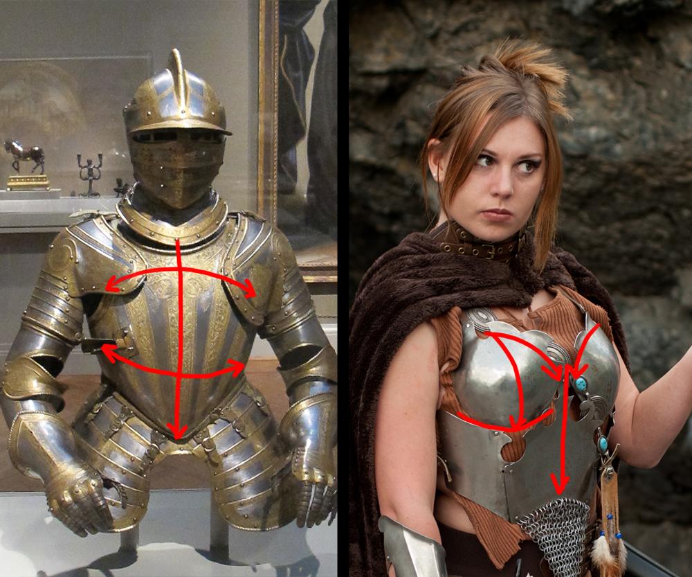 Frauenrüstung mit boob plates vs normaler Harnisch
