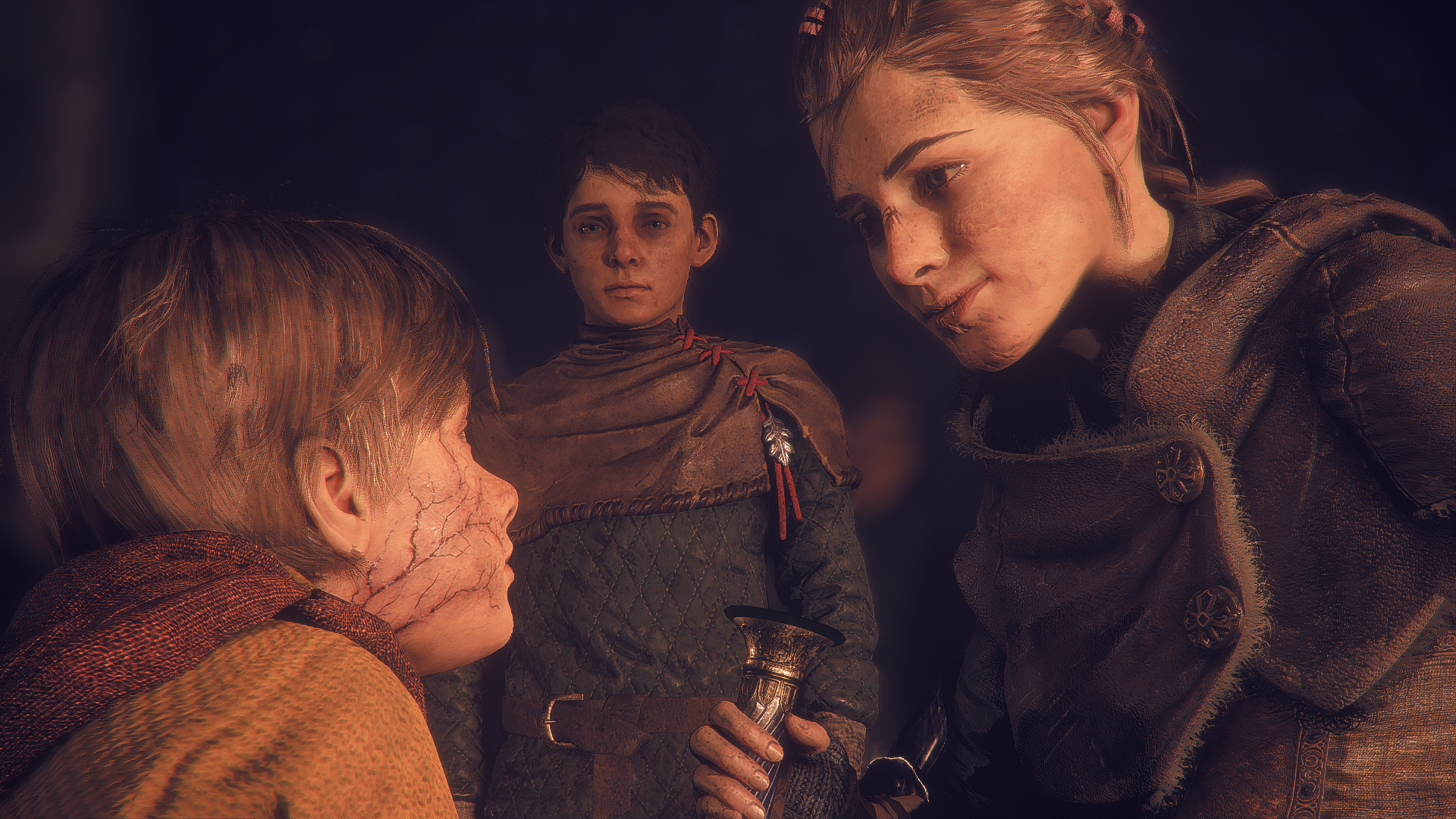 A Plague Tale: Innocence Amicia, Hugo und Lucas (Eigener Screenshot)