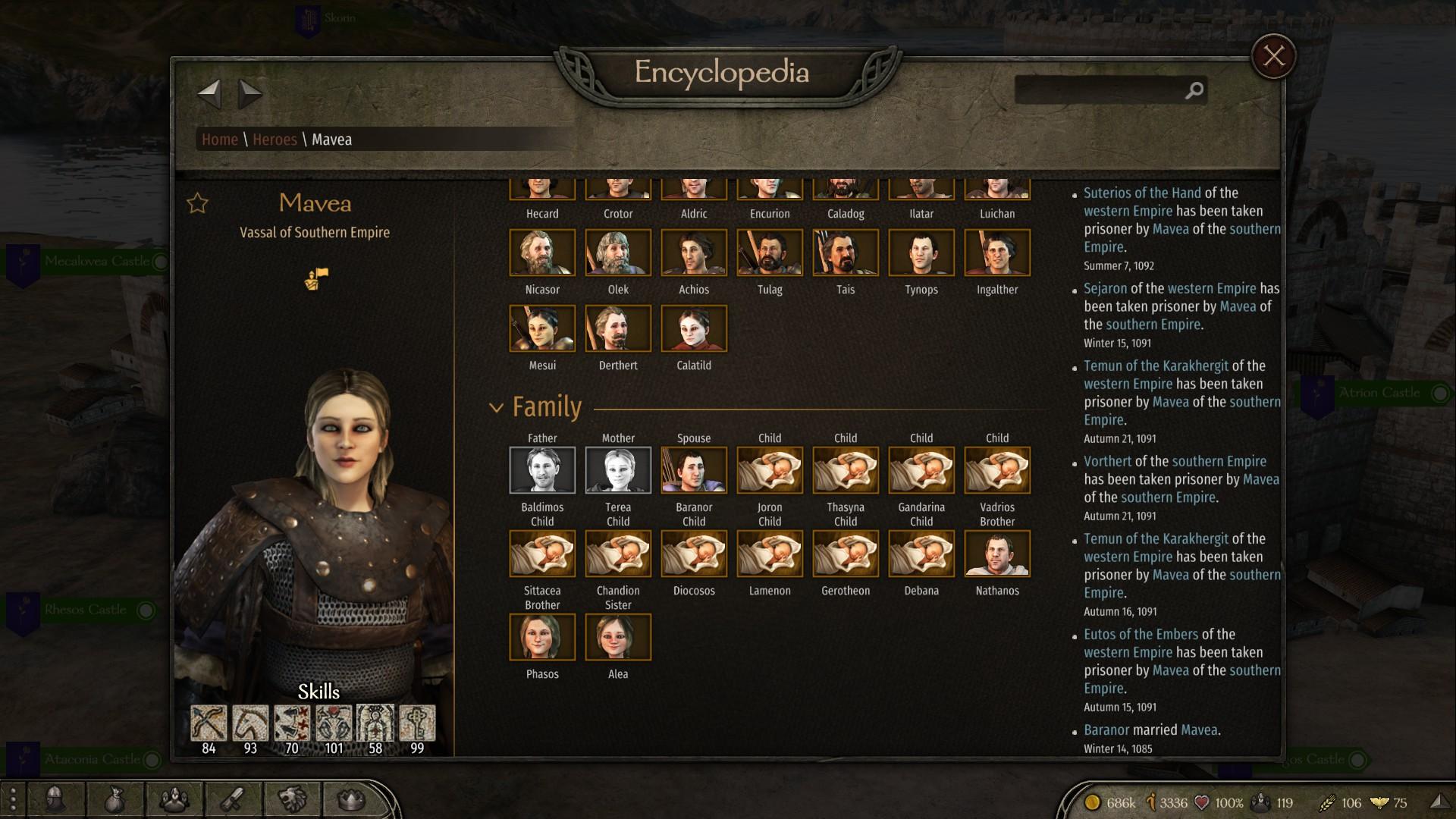 """Screenshot des Spiels """"Mount & Blade II"""", auf dem man sieht, dass die Figur Mavea insgesamt zehn Kinder hat"""